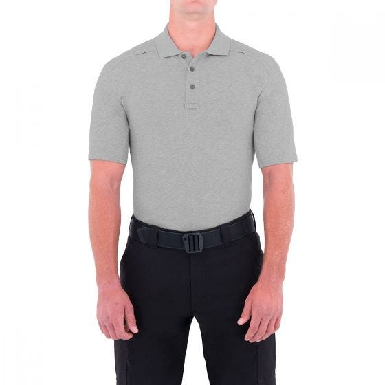 First Tactical Men's Cotton Short Sleeve Polo with Pen Pocket Heather Grey