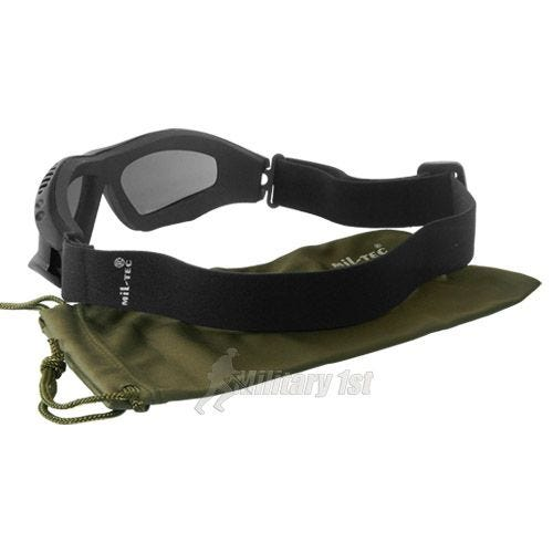 Mil-Tec Commando Goggles Air Pro Smoke Lens Black Frame