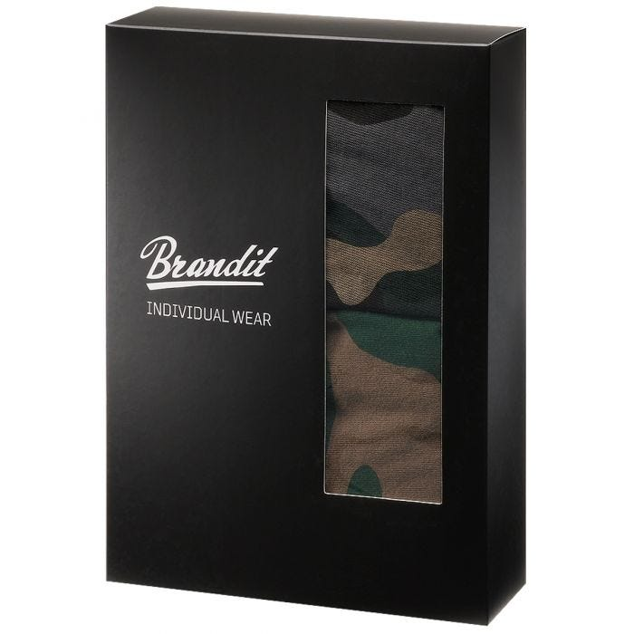 Brandit Boxer Shorts Logo 2 Pack Woodland / Dark Camo