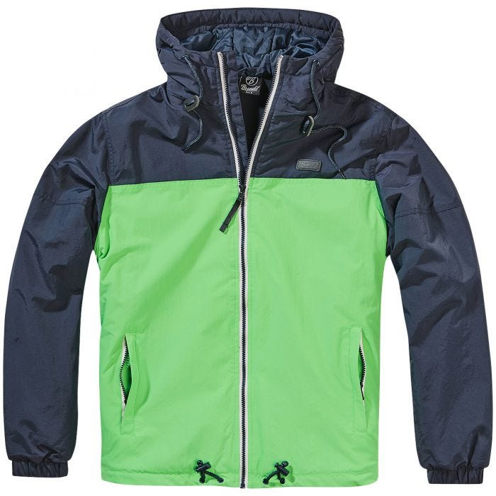 Brandit Harris 2-Colour Windbreaker Indigo/Spring Green