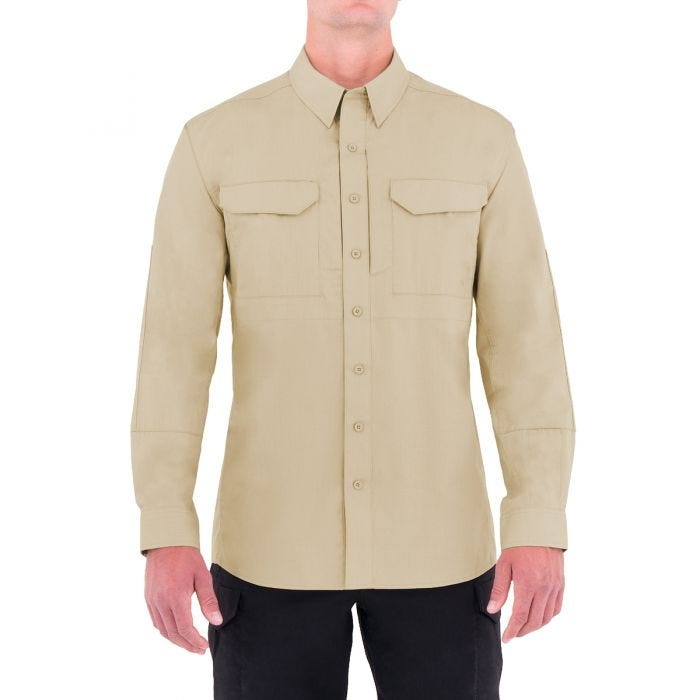 First Tactical Men's Specialist Long Sleeve Tactical Shirt Khaki