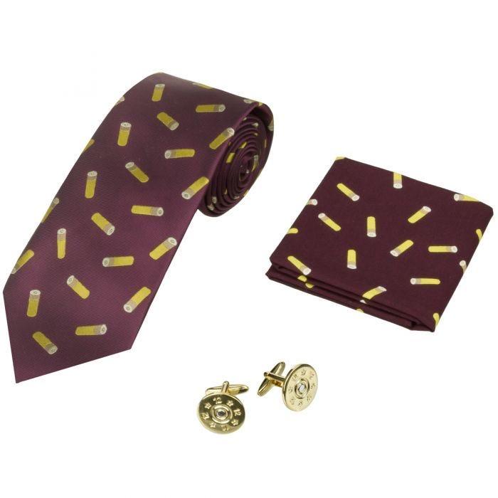 Jack Pyke Tie, Hanky and Cufflinks Gift Set Cartridge Wine