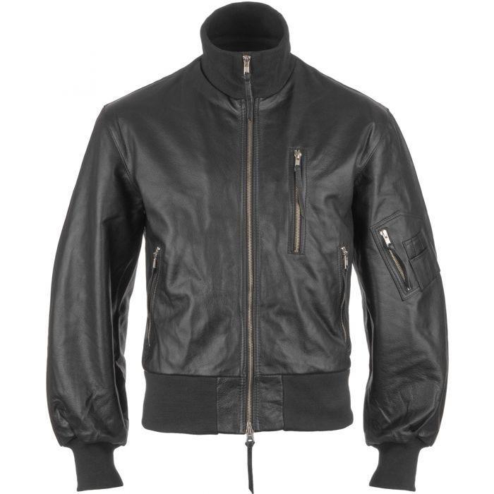 Mil-Tec German Army Leather Flight Jacket Black