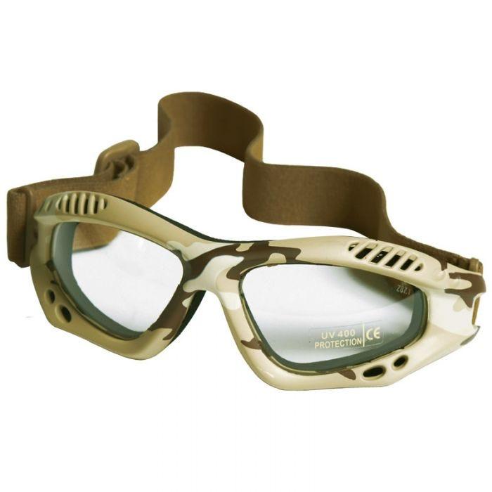Mil-Tec Commando Goggles Air Pro Clear Lens Desert Frame