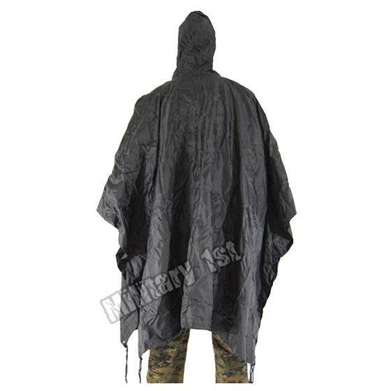 Waterproof Poncho Ripstop Black