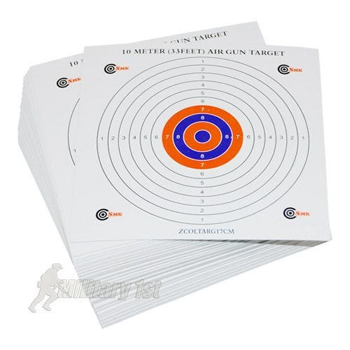 SMK Colour Centre 17cm Card Targets (100 Pack)