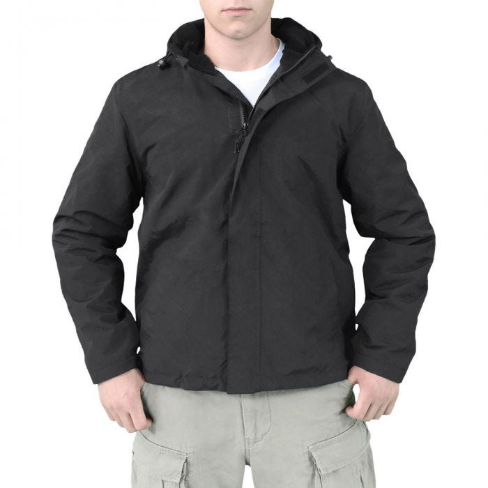 Surplus Windbreaker Jacket with Zipper Black