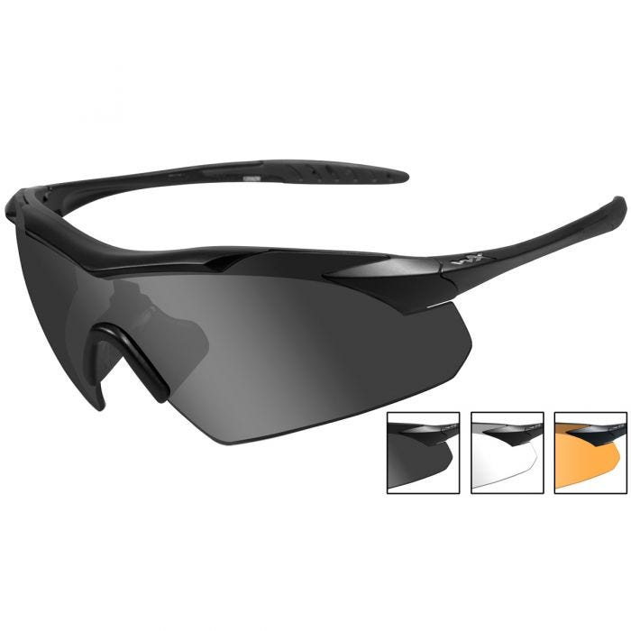 Wiley X WX Vapor Glasses - Smoke Grey + Clear + Light Rust Lens / Matte Black Frame