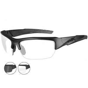Wiley X WX Valor Glasses - Smoke Grey + Clear Lens / Matte Black Frame