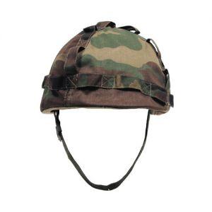 Plastic Helmet with Woodland Camo Cloth Cover