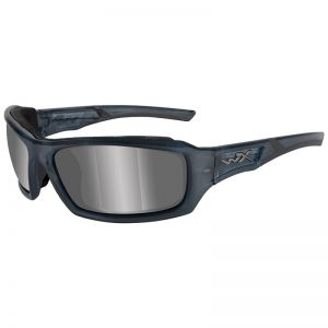 Wiley X WX Echo Glasses - Silver Flash Lens / Smoke Steel Blue Frame