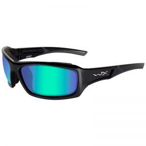 Wiley X WX Echo Glasses - Polarised Emerald Mirror Lens / Gloss Black Frame