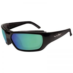 Wiley X Rout Glasses - Polarized Emerald Mirror Lens / Gloss Black Frame