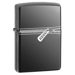 Zippo Zipped Lighter Chrome Black