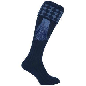 Jack Pyke Harlequin Shooting Socks Navy/Light Blue
