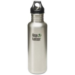 Klean Kanteen Classic 800ml Bottle with Loop Cap Brushed Stainless