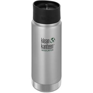 Klean Kanteen Wide Mouth Insulated 473ml Bottle Cafe Cap 2.0 Brushed Stainless
