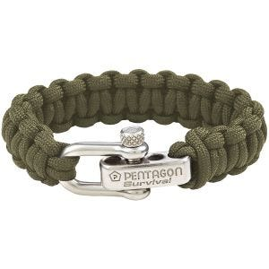Pentagon Survival Bracelet Olive Green