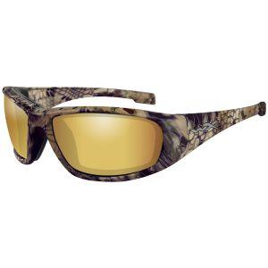Wiley X WX Boss Glasses - Polarized Venice Gold Mirror Lens / Kryptek Highlander Frame