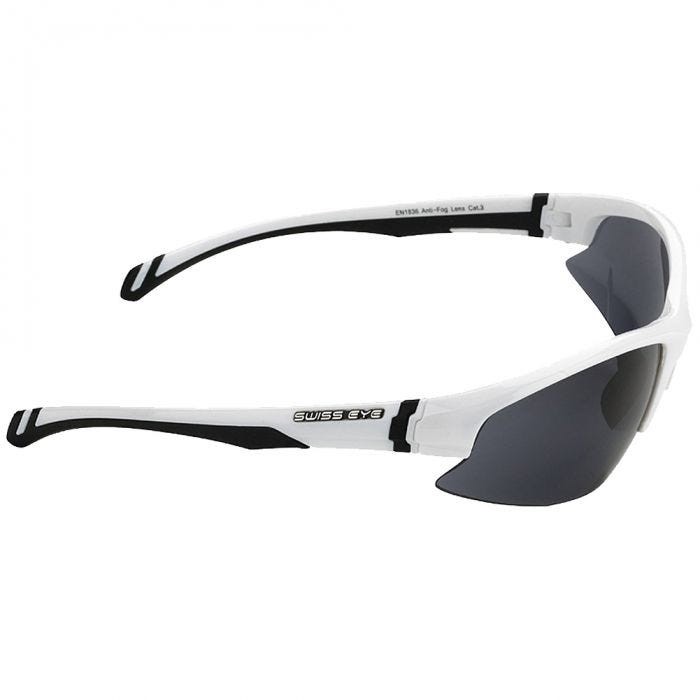 Swiss Eye Flash Sunglasses - Smoke + Orange + Clear Lens / White Shiny Frame