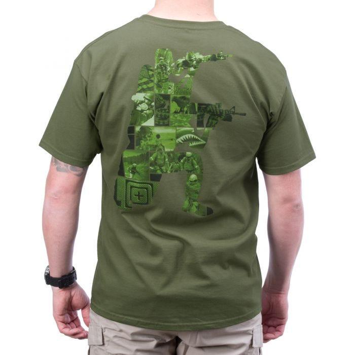 5.11 High Low Logo T-Shirt OD Green
