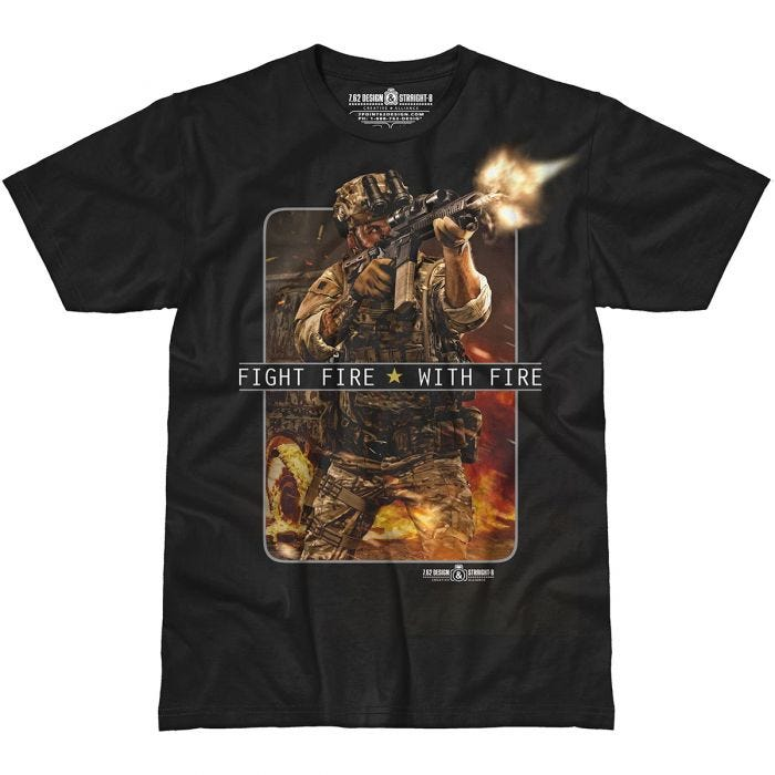 7.62 Design Fight Fire With Fire T-Shirt Black