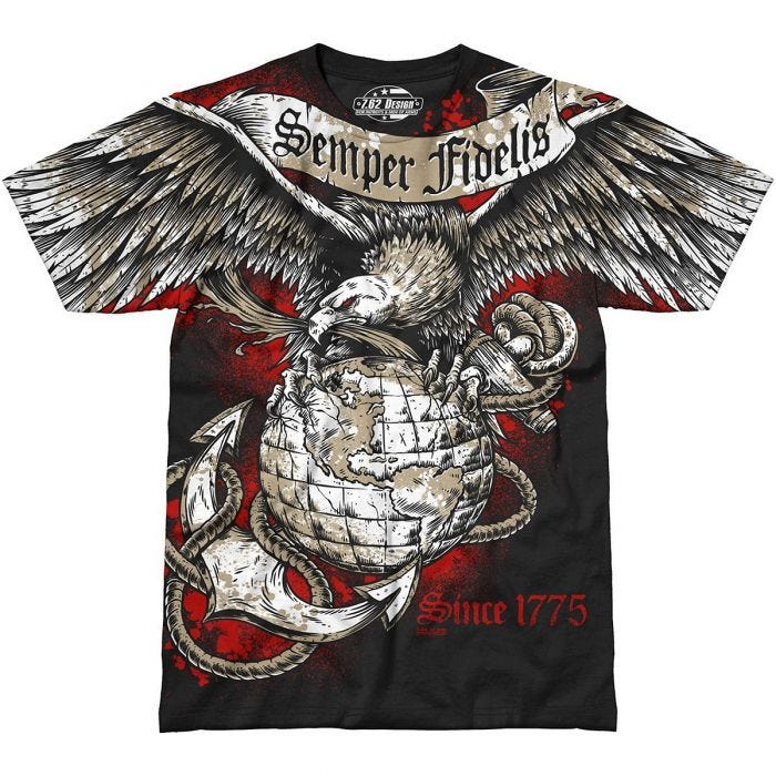 7.62 Design USMC Semper Fidelis T-Shirt Black