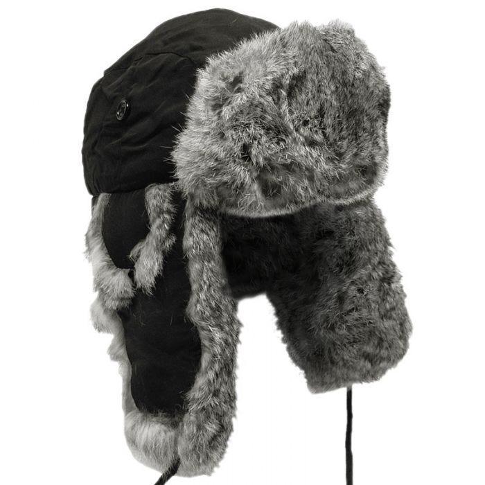 MFH Winter Cap Black with Grey Rabbit Fur