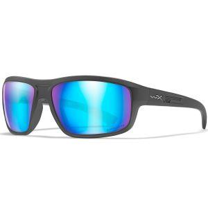 Wiley X WX Contend Glasses - Captivate Polarized Blue Mirror Lens / Matte Graphite Frame