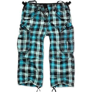 Brandit Industry Vintage 3/4 Shorts Turquoise Checkered
