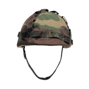 Plastic Helmet with Woodland Camo Cloth Cover
