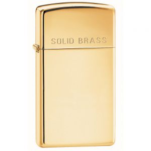 Zippo Slim High Polish Brass Engraved Lighter